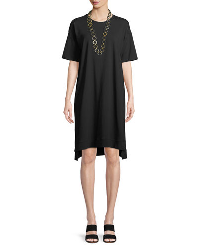 Slubby Organic Cotton Jersey Shift Dress, Plus Size