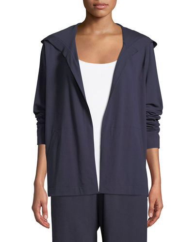 Eileen Fisher Organic Cotton Jersey Hooded Cardigan, Petite