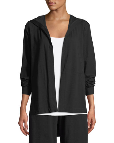 Organic Cotton Jersey Hooded Cardigan, Plus Size