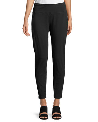 Skinny Slub Jersey Zipper Pants, Plus Size