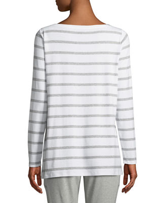 Image 2 of 3: Striped Bateau-Neck Long-Sleeve Top, Petite