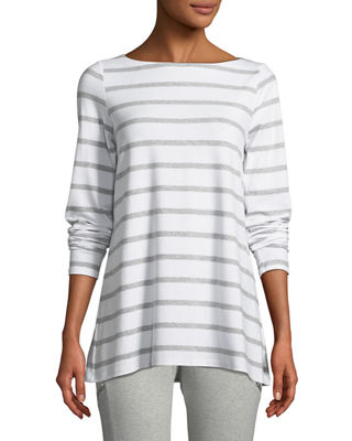 Image 1 of 3: Striped Bateau-Neck Long-Sleeve Top