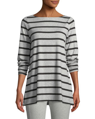 Eileen Fisher Striped Bateau-Neck Long-Sleeve Top
