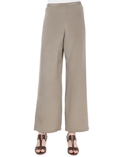 Silk Wide-Leg Pants, Plus Size