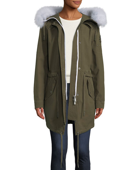 Mainville Canvas Parka Jacket w/ Removable Fur Trim Moose Knuckles Outlet 2018 Discount Extremely D2pPG6EnOW