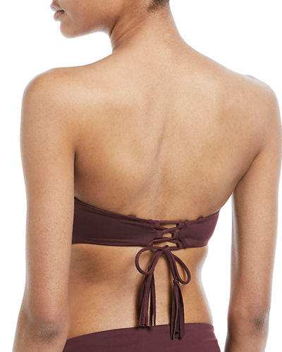 Varona Bandeau Swim Top with Lace-Up Tassel Ties