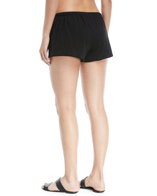 Image 2 of 3: Drawstring Cotton Coverup Shorts