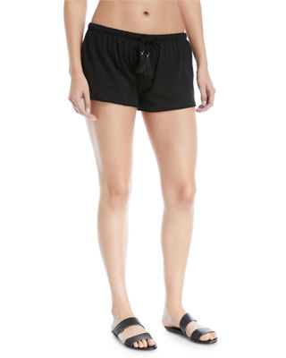 Image 1 of 3: Drawstring Cotton Coverup Shorts
