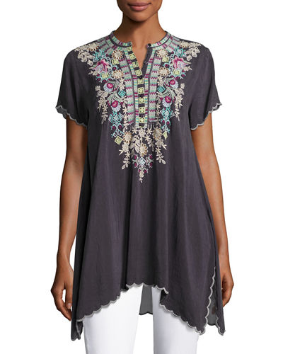 Livana Embroidered Short-Sleeve Tunic, Petite