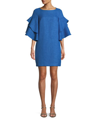 Bateau-Neck Trumpet-Sleeve Mini Dress