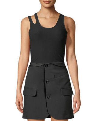 Helmut Lang Slashed Formfitting Seamless Tank and Matching