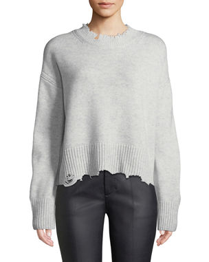 33aed507634 Helmut Lang Distressed Crewneck Pullover Sweater