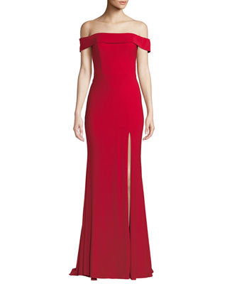 FAVIANA JERSEY OFF-THE-SHOULDER GOWN W/ SLIT