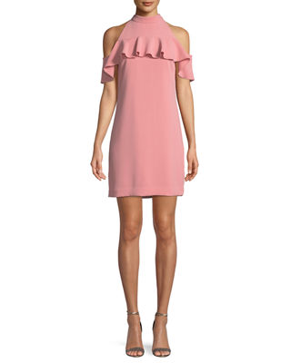 Laelia Ruffle Cold-Shoulder Mini Dress
