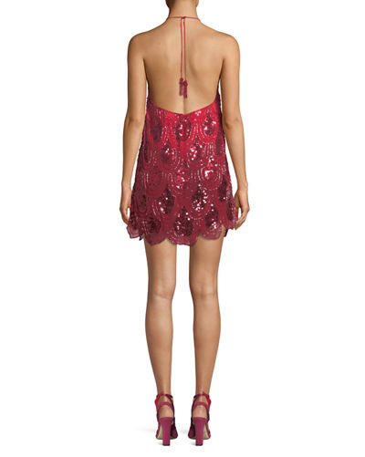 Dame Ombré Beaded Halter Cocktail Dress