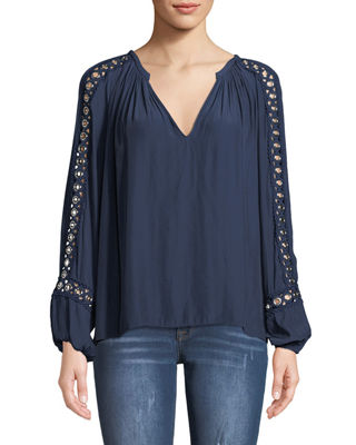 Ramy Brook Sera V-Neck Long-Sleeve Blouse with Grommet