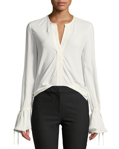 Derek Lam 10 Crosby Bell-Sleeves Button-Down Blouse with