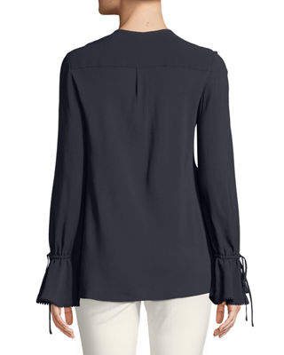 Image 2 of 3: Bell-Sleeves Button-Down Blouse with Scalloped Trim
