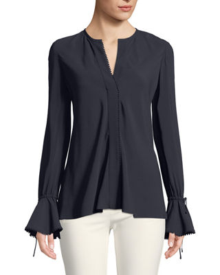 Image 3 of 3: Bell-Sleeves Button-Down Blouse with Scalloped Trim