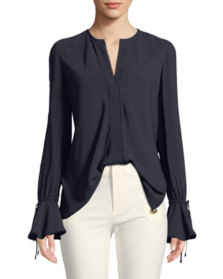 Image 1 of 3: Bell-Sleeves Button-Down Blouse with Scalloped Trim