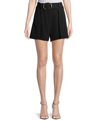 Belted Flared-Leg Crepe Shorts in Black