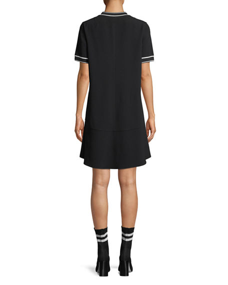 Image 2 of 2: Rag & Bone Crewneck Short-Sleeve Crepe Dress