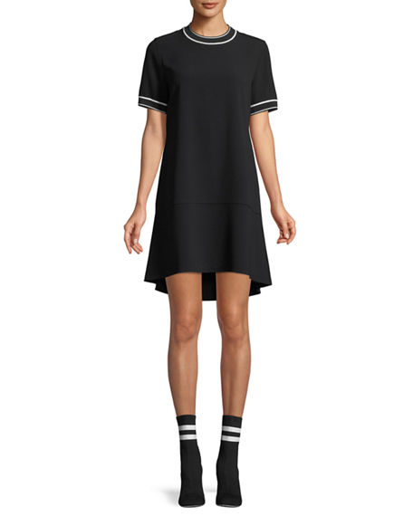 Image 1 of 2: Rag & Bone Crewneck Short-Sleeve Crepe Dress