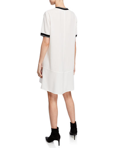 Crewneck Short-Sleeve Crepe Dress
