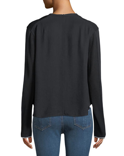Vanessa V-Neck Zip-Front Long-Sleeve Top