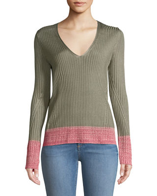 Alyssa V-Neck Long-Sleeve Ribbed Sweater w/ Contrast Hem