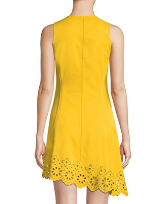 Image 2 of 3: Sleeveless Button-Down Cotton Dress with Scalloped Hem
