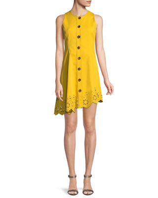 Image 1 of 3: Sleeveless Button-Down Cotton Dress with Scalloped Hem