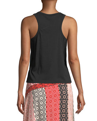 Image 2 of 4: Scoop-Neck Racerback Cotton Tank with Lace Trim
