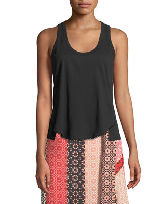 Image 1 of 4: Scoop-Neck Racerback Cotton Tank with Lace Trim