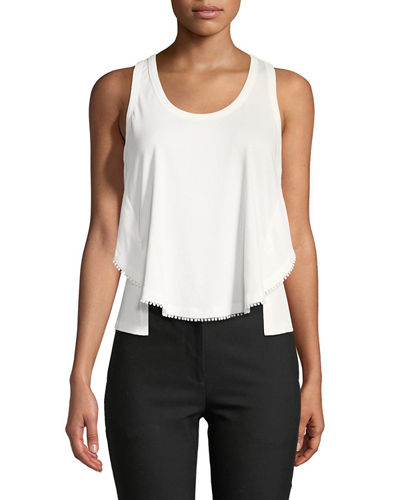 Scoop-Neck Racerback Cotton Tank with Lace Trim