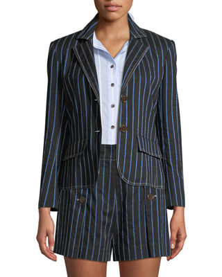 Derek Lam 10 Crosby Two-Button Striped Cropped Blazer