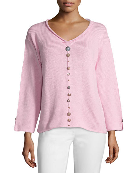 Neon Buddha PLUS SIZE IRIS PULLOVER TOP WITH BUTTONS