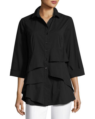 Jenna Tiered-Ruffle Long Blouse, Plus Size