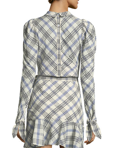 Isabel Mock-Neck Button-Down Back Plaid Top
