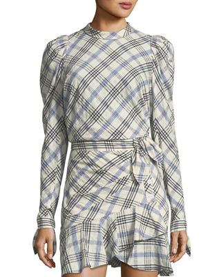 Image 1 of 3: Isabel Mock-Neck Button-Down Back Plaid Top