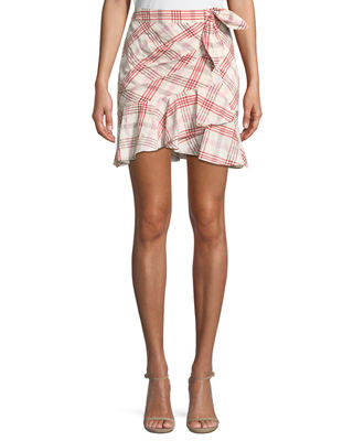 Kaia Tie-Waist Plaid Mini Skirt