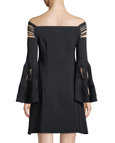 Karie Off-The-Shoulder Trumpet-Sleeve Mini Cocktail  Dress