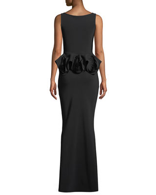 Image 2 of 3: Senta Rose Peplum Sleeveless Gown