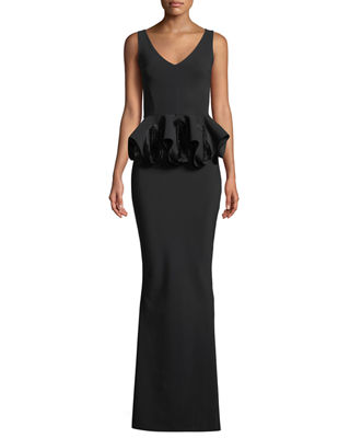 Image 1 of 3: Senta Rose Peplum Sleeveless Gown