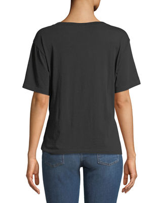 Image 2 of 2: Crewneck Short-Sleeve Knotted-Front Cotton Tee