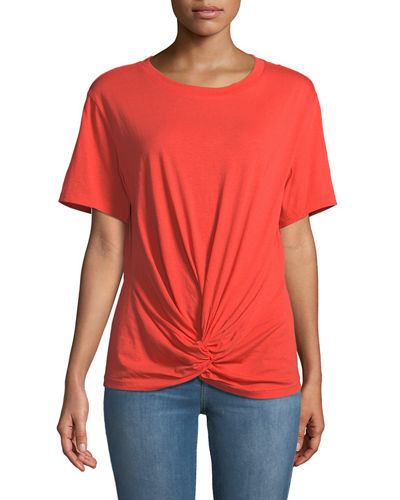 7 For All Mankind Crewneck Short-Sleeve Knotted-Front Cotton