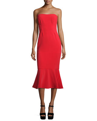cinq a sept Luna Strapless Flounce-Hem Dress