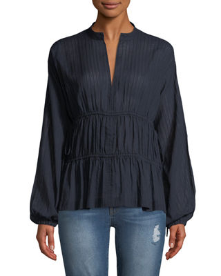 Derek Lam 10 Crosby Split-Neck Long-Sleeve Cotton Blouse