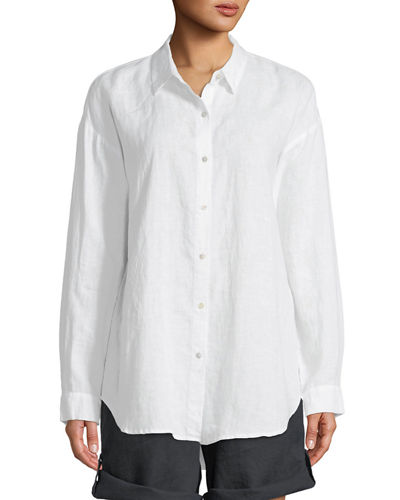 Eileen Fisher Organic Linen Boyfriend Shirt and Matching