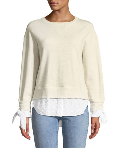 Derek Lam 10 Crosby Long-Sleeve Combo Sweatshirt w/